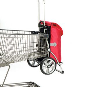 Shopping trolley attached to shopping cart