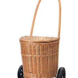 wicker basket on wheels