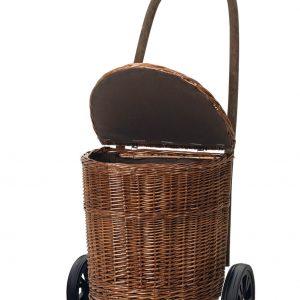 wicker trolley on wheels