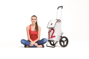 Girl with 2 wheel shopping trolley