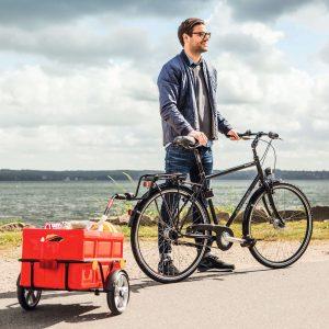 bike trailer in use