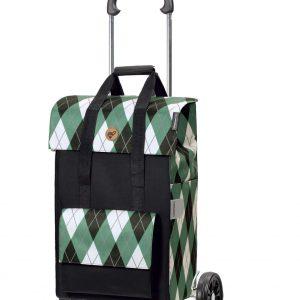 green shopping trolley bag on wheels