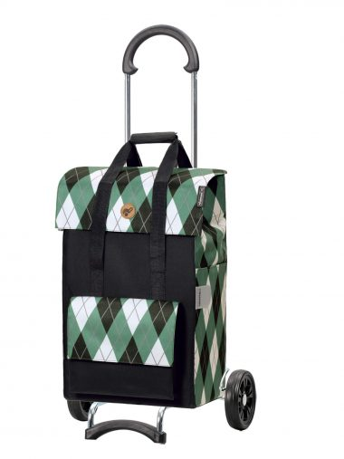 green shopping trolley bag on wheels