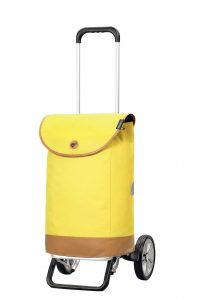 yellow height adjustable trolley