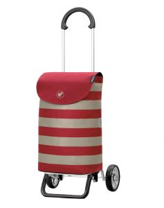 red aluminium shopping trolley