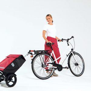 Tura bike trolley attached to bike